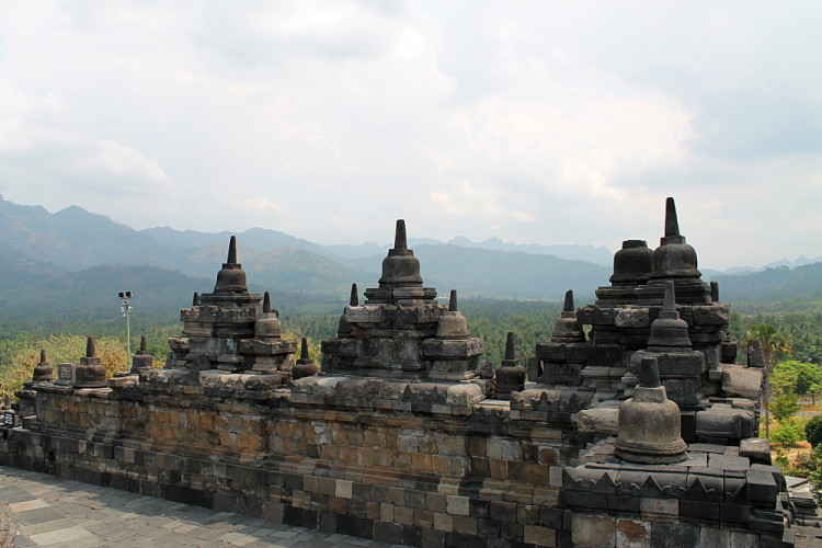 A mountain view from Borobudur temple, during a week in Java, Indonesia