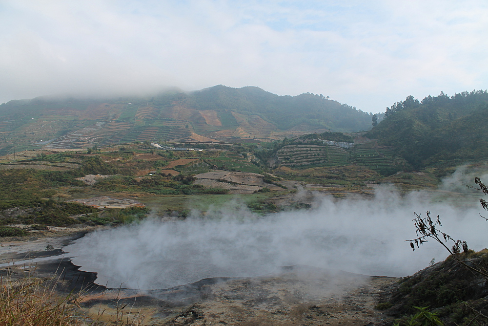 A crater at Dieng Plateau, a great place to visit during a week in Java