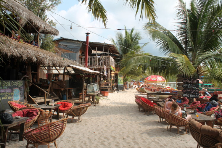 The main street on Koh Rong, a laid back island paradise in Cambodia