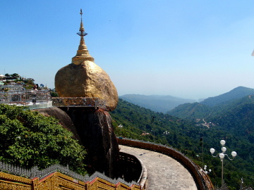 The golden rock pagoda in Myanmar