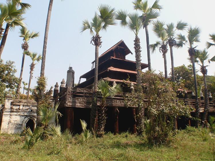 A teak temple in Innwa, one of the old capitals in Mandalay, Myanmar