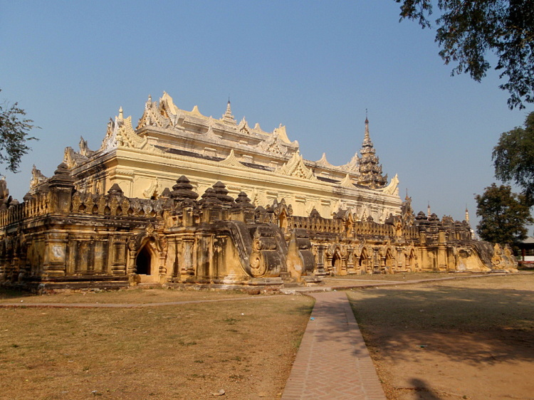 A yellow temple in Innwa, one of the old capitals in Mandalay, Myanmar