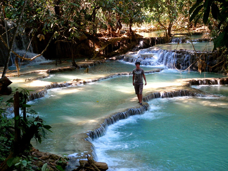 Terraced pools at Kuang Si Falls, Luang Prabang, Laos