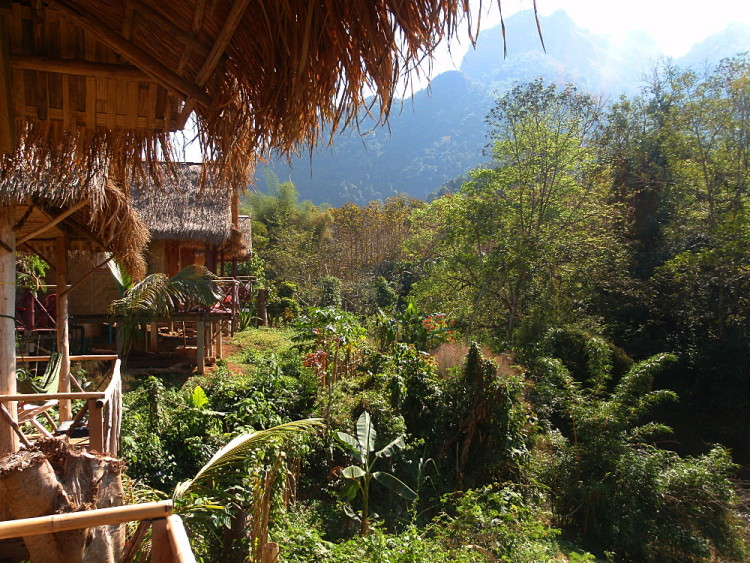 A wooden bungalow in Nong Khiaw, Laos