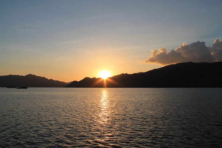 A sunset from a boat in Komodo National Park, Flores, Indonesia