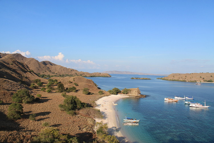 A view from a hill of the Pink Beach in Komodo National Park, Flores, Indonesia