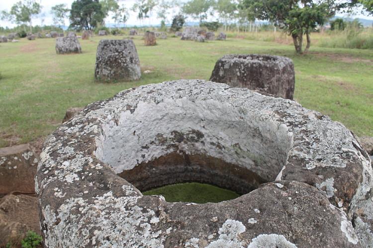 A jar full of water at site 1, the Plain of Jars in Phonsavan, Laos