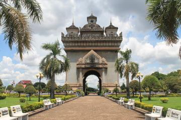 Patuxai park in Vientiane, Laos