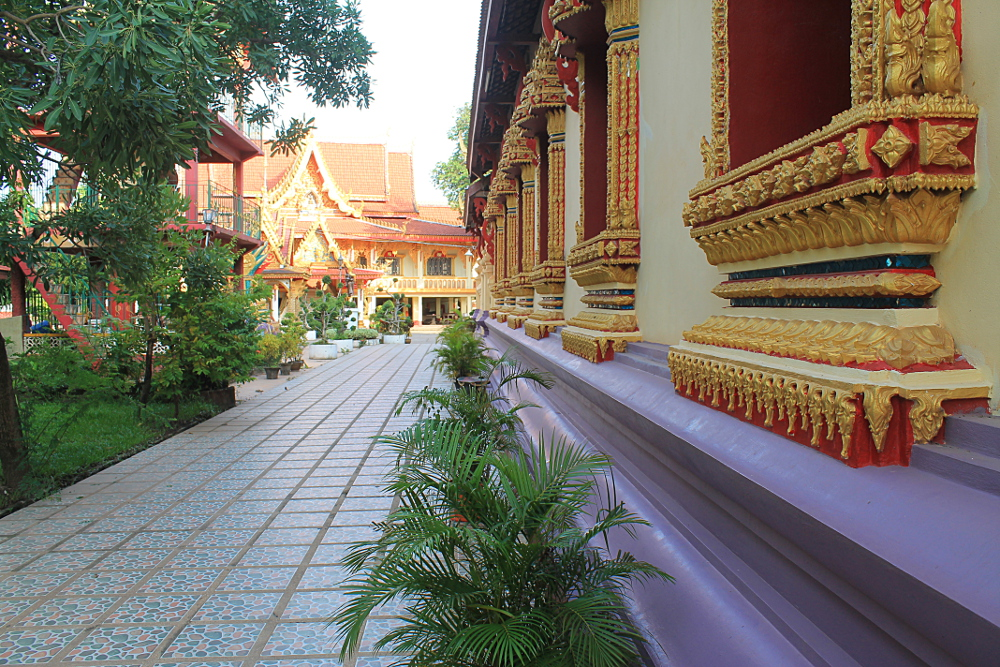 The side of a wat, or temple, in Vientiane, Laos