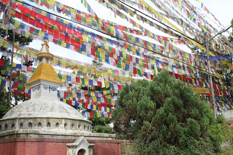 Prayer flags at the monkey temple in Kathmandu, Nepal