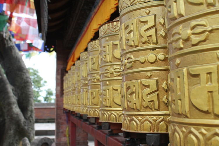 Prayer wheels at the monkey temple in Kathmandu, Nepal