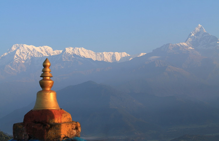 The Annapurna range after sunset in Sarangkot, Nepal