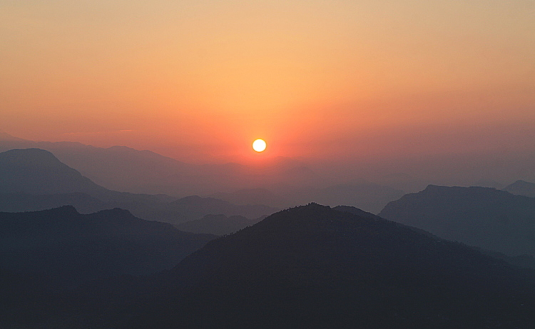 The sunrise in Sarangkot, Nepal