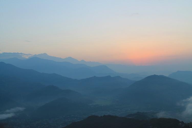 An early morning sunrise in Sarangkot, Nepal