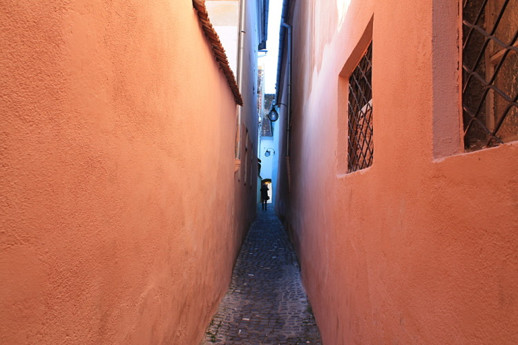 Narrowest street in Eastern Europe in Brasov, our base for a week in Transylvania
