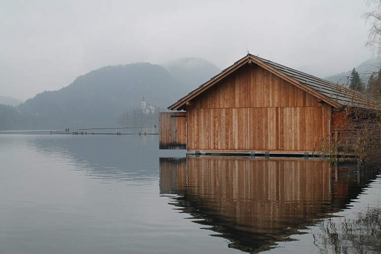 A boat shed in Lake Bled, Slovenia