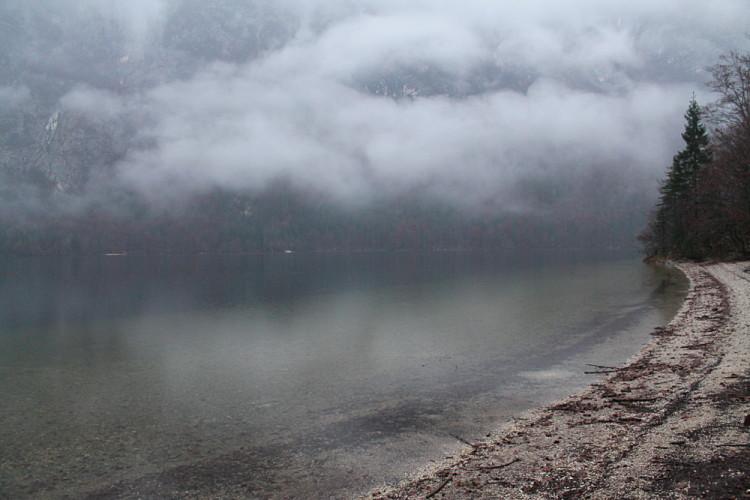 A beach at Lake Bohinj, a great day trip from Lake Bled