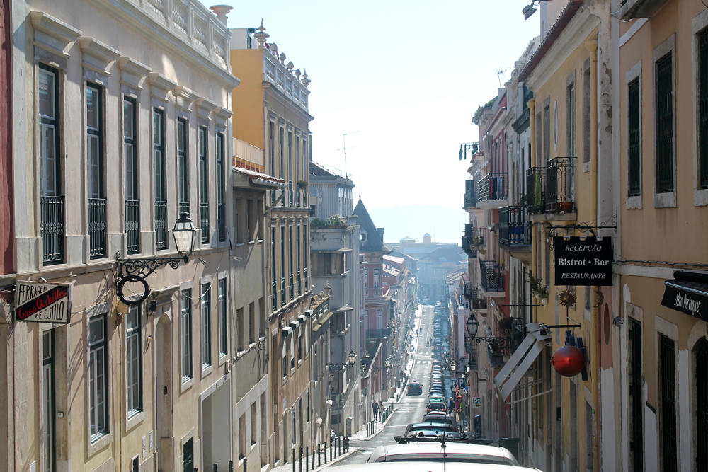 A steep street in Bairro Alto, one of the 7 hills in Lisbon