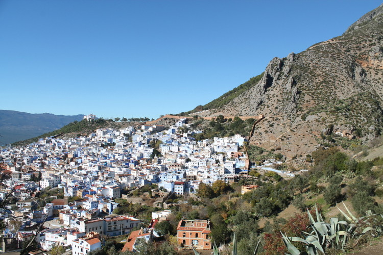 The view from above Chefchaouen, the blue town in Morocco