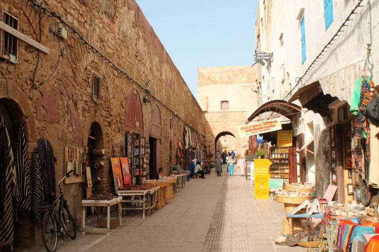 The city walls in the medina, during a day trip to Essaouira, Morocco