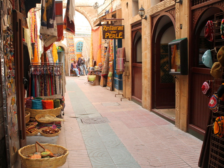Shops in the medina, during a day trip to Essaouira, Morocco
