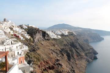 Walking from Fira to Oia on Santorini,Greece