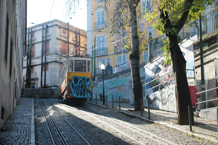Glória funicular, which takes you up to Bairro Alto, one of the 7 hills in Lisbon