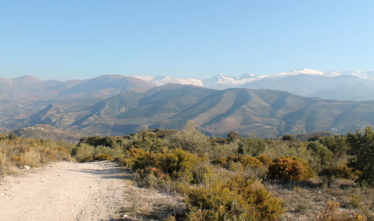 The scenic short walk between Baes de Granada and Granada, Spain