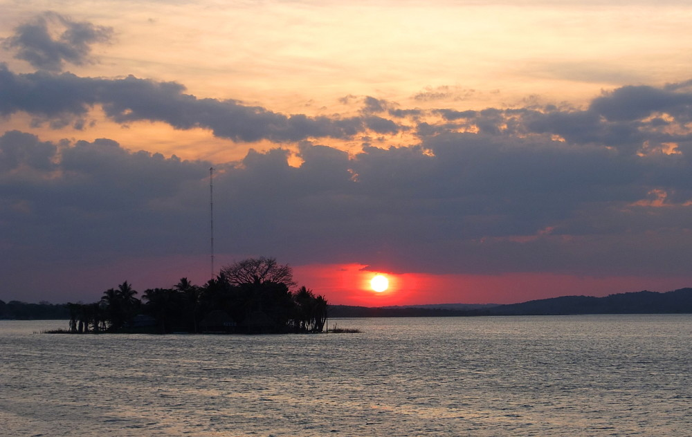 A sunset in Flores, Guatemala