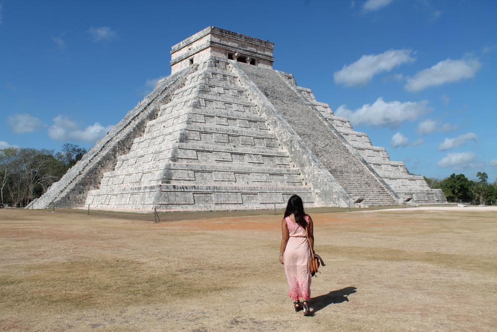 A girl and a pyramid - El Castillo, Chichen Itza, Mexico