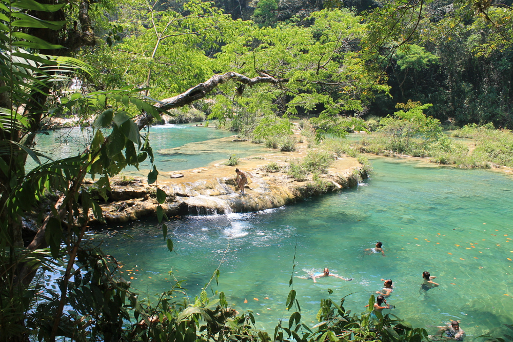 People swimming at Semuc Champey, Guatemala