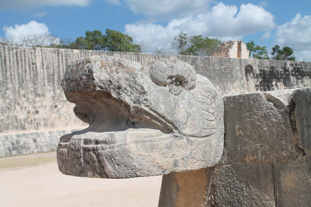 Snake carving at Chichen Itza, Mexico