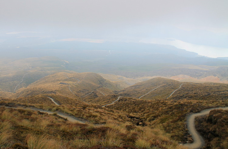 The home stretch of the Tongariro Crossing day walk, New Zealand