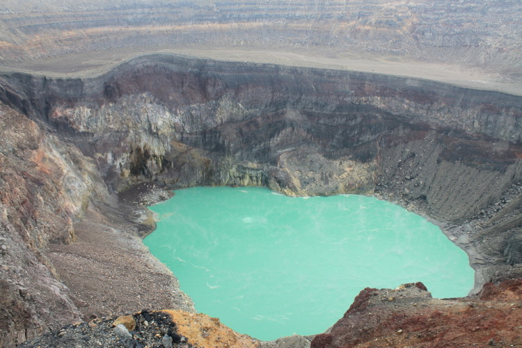 Green crater lake of Santa Ana volcano, El Salvador