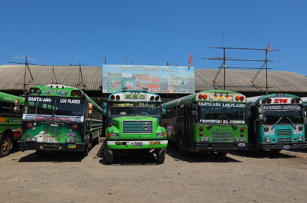 chicken buses lined up at Santa Ana bus station, El Salvador