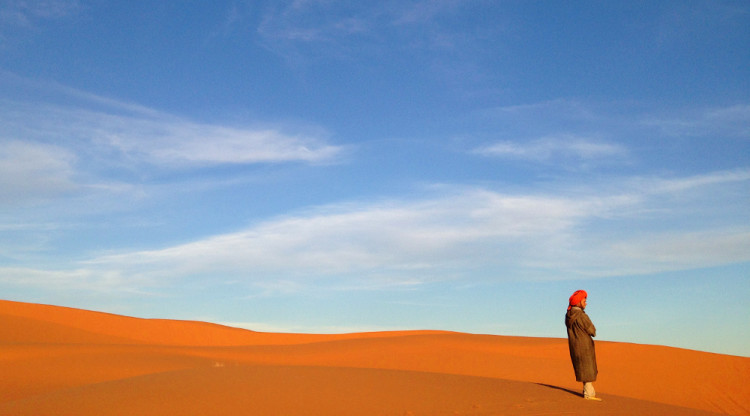 Erg Chebbi sand dunes, the highlight of the 3 day Sahara Desert tour from Marrakech, Morocco