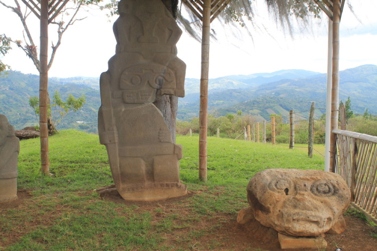 Statues on a hill in San Agustin, Colombia