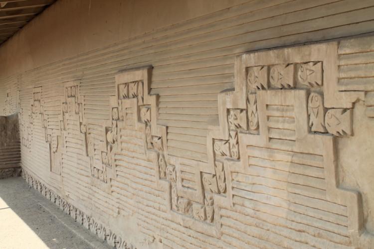 Desert ruins in northern Peru: Chan Chan carvings