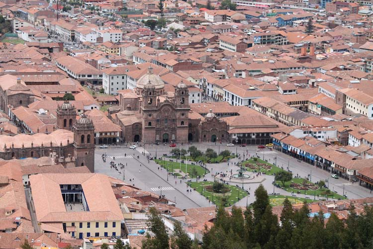 Spanish style and Inca ruins in Cusco, Peru -- Plaza de Armas from above