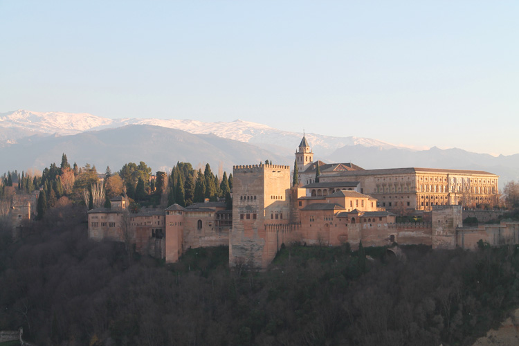 The Alhambra from Mirador de San Nicolas, Granada, Spain