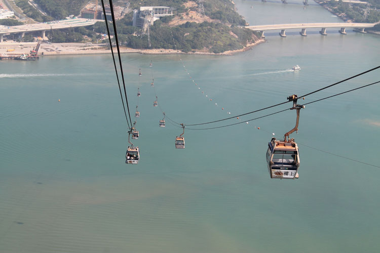 Backpacking in Hong Kong: The cable car to the Big Buddha, Lantau Island