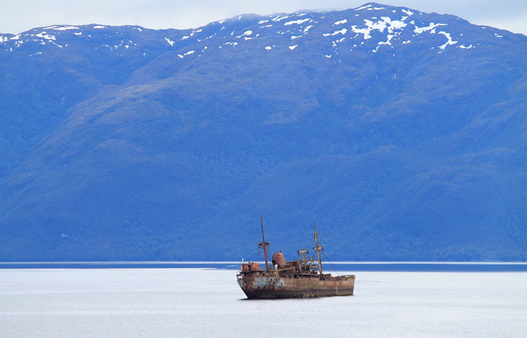 A budget cruise through Patagonia on the Navimag ferry from Puerto Montt to Puerto Natales: A shipwreck