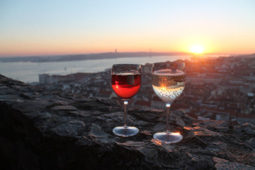 Spain and Portugal in winter: sunset in Lisbon
