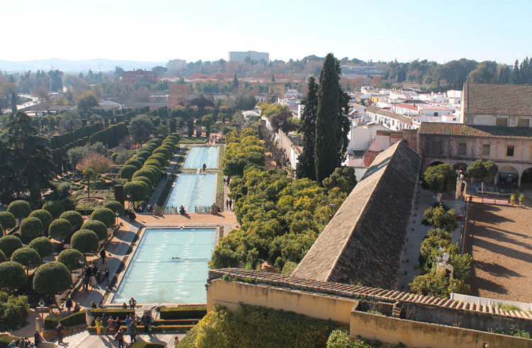 2 days in Córdoba, Spain -- Alcazar Real pools from above