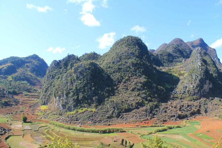 Hiking in Dong Van, Vietnam -- shapely limestone hills