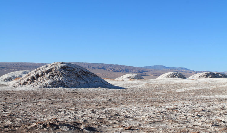 The Valley of the Moon (Valle de la Luna) in Chile -- salt covered hills