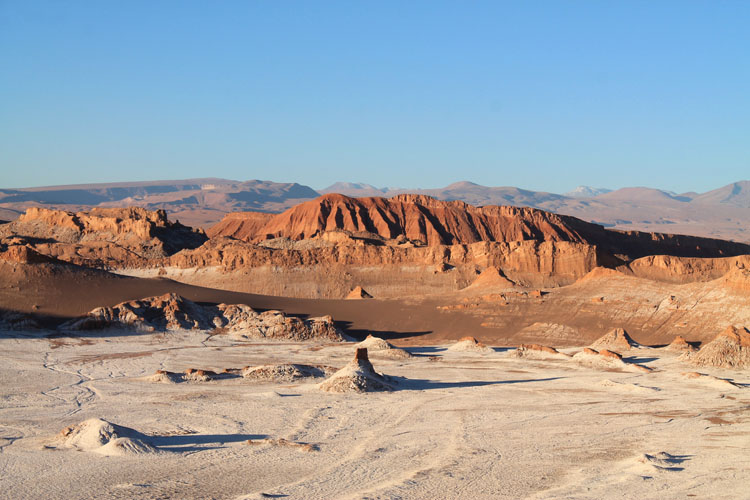 The Valley of the Moon (Valle de la Luna) in Chile -- salt-covered earth