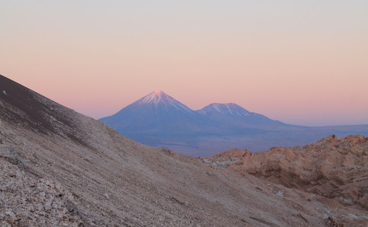 Sunset in the Valley of the Moon (Valle de la Luna) in San Pedro de Atacama, Chile