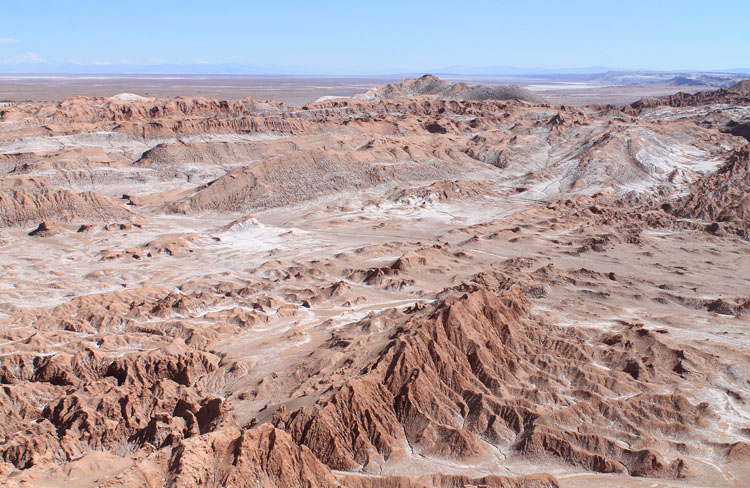 The Valley of the Moon (Valle de la Luna) in Chile from above