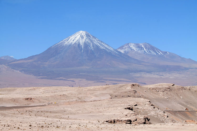 The Valley of the Moon (Valle de la Luna) in Chile -- a view of the volcanoes close to the border with Bolivia